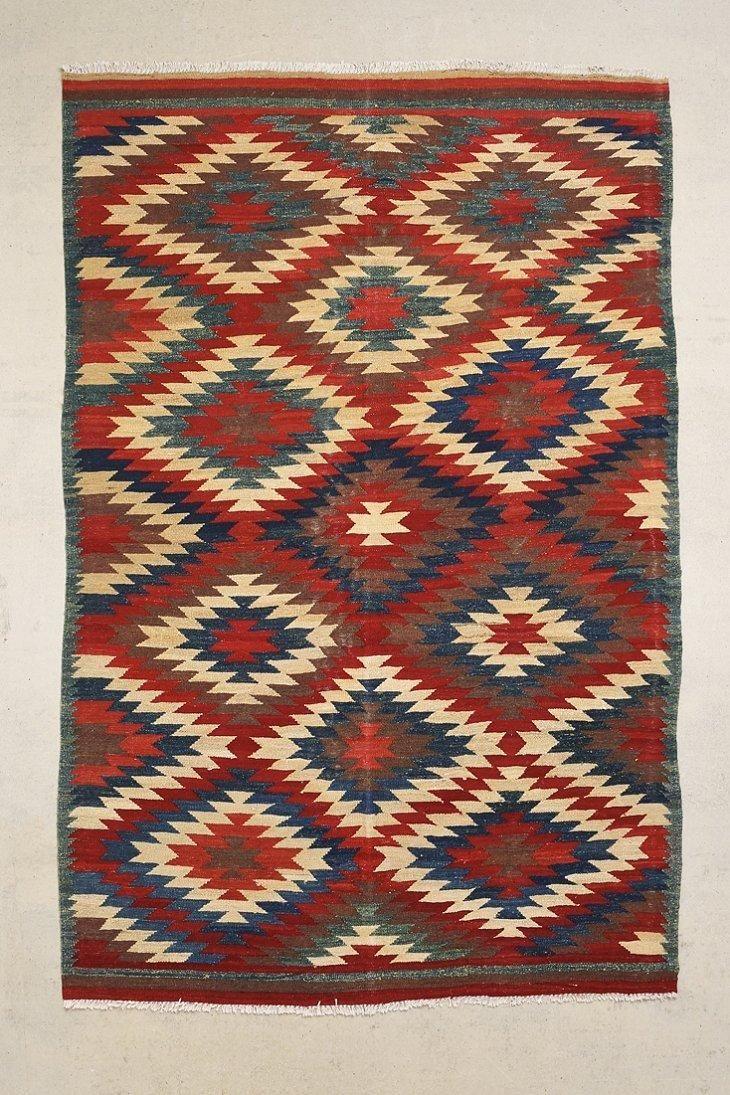 vintage 6x9 stacked diamond kilim rug