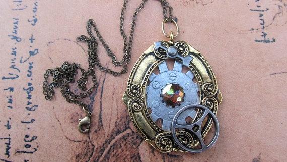 Steampunk Jewelry Steampunk Necklace Clock Gear by WuzzysCreations, $38.00