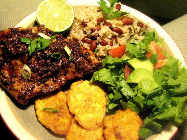 ... Jerk Chicken with Rice & Pea and Tostones (Fried Green Plantains