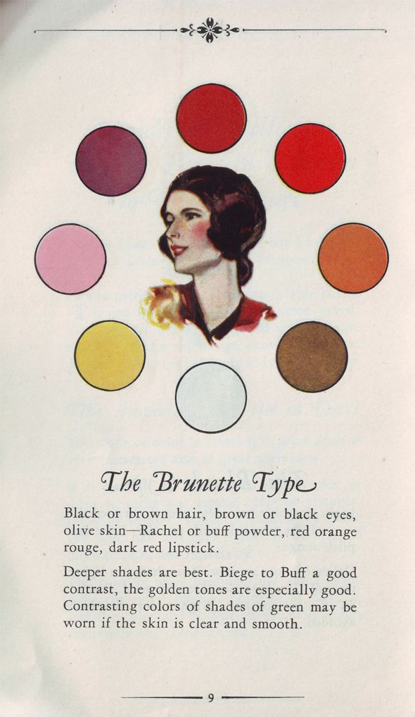 Colour palette suggestions for The Brunette Type. #vintage #makeup #fashion #hair