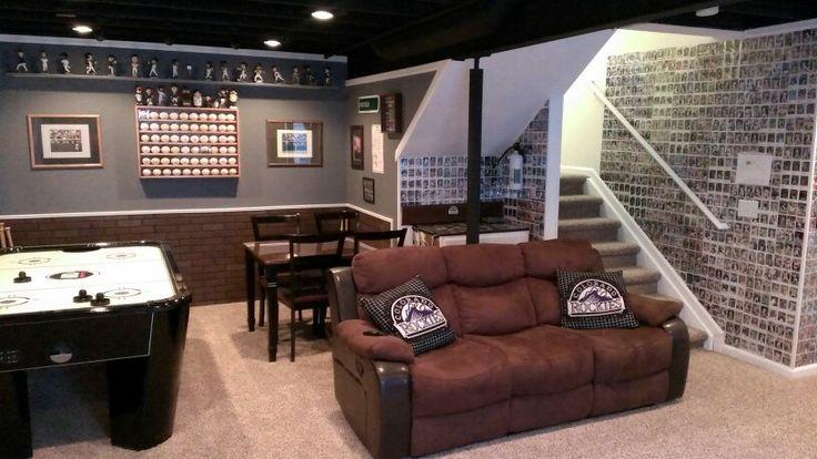 Man Caves Denver Co : Basement baseball and football man cave