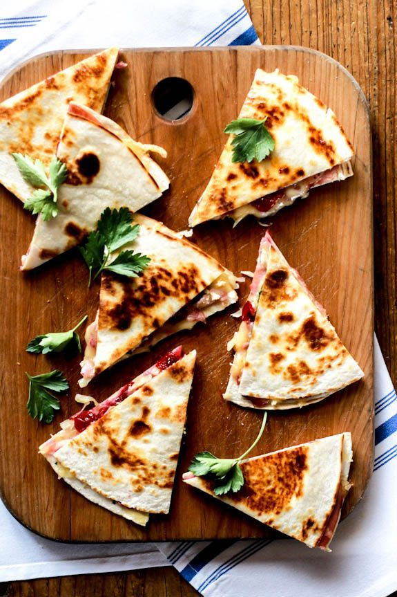 Turkey Cranberry Quesadillas with Ham | * Comfort food * | Pinterest