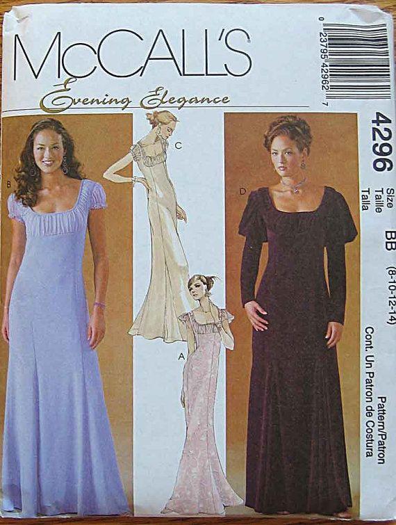Misses 39 renaissance empire waist evening gown wedding for Empire waist wedding dress patterns