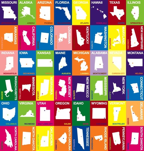 picture regarding 50 States Flash Cards Printable identify Midwestern United Says