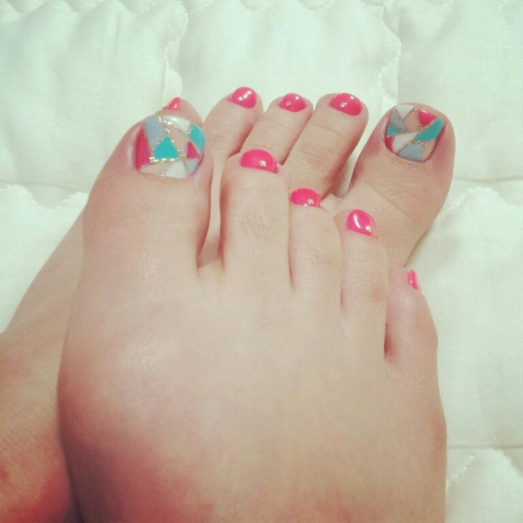 stained glass gel nail pedi art | nails | Pinterest