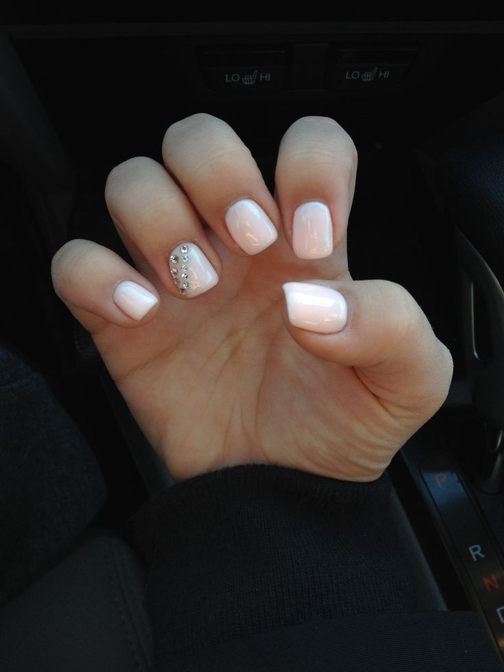 Soft Pink Gel Nails With Rhinestones | My Style | Pinterest