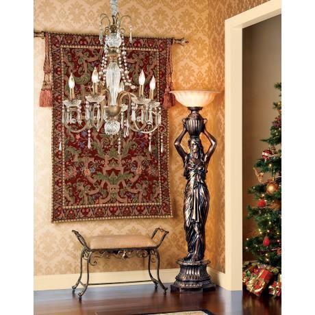 Caryatid Maiden Torchiere Floor Lamp