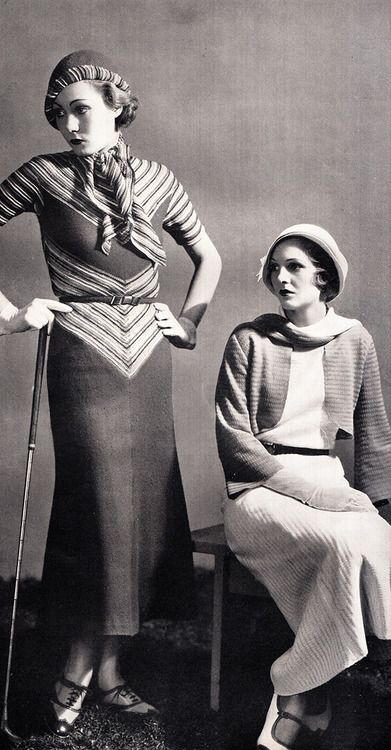 1930's fashions knit sportswear golfing walking outfits dress long stripes photo print ad models hat shoes