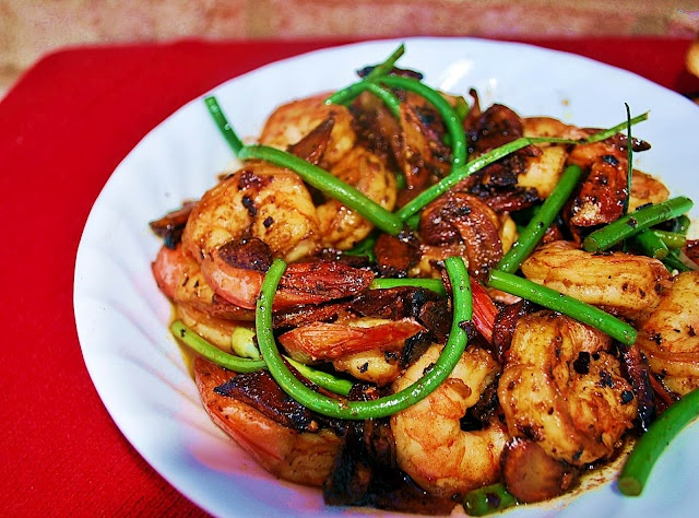 Shrimp with Forty Cloves of Garlic and Garlic Scapes
