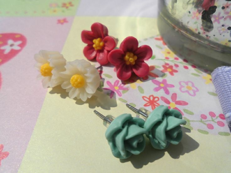 Dream* Blumen Ohrstecker Weiß Pink Grün von Happy Lilly auf DaWanda ...