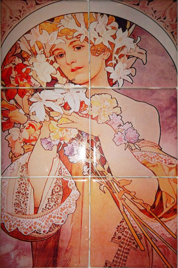 Art nouveau ceramic tile decorative mural for Art deco tile mural
