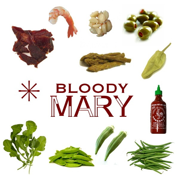 Bloody Mary #drinks #hangover #bloodymary #pickles #srichacha #arugula