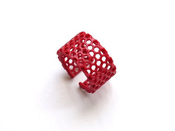 bright minimalist jewelry, red fashion ring - Slim Perforated Honeycomb Ring. 3d printed, modern.