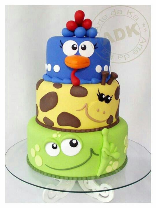 Images For Cute Cake : Cute animals tiered cake Cake fun!!! Pinterest