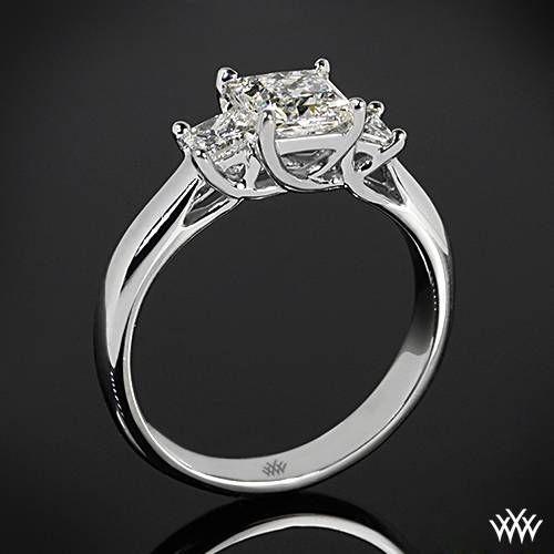 "18k White Gold ""Trellis"" 3 Stone Engagement Ring for Princess Settin…"