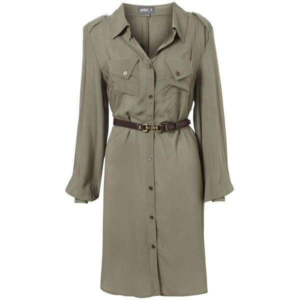Khaki Long Sleeve Shirt Dress | My Style | Pinterest