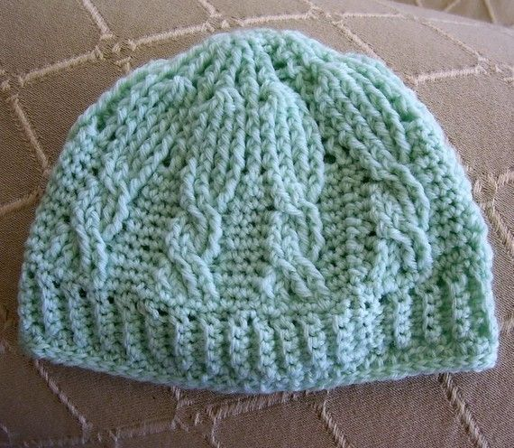 Crochet Stitches Cable : Download Now - CROCHET PATTERN Cable Stitch Crocheted Baby Beanie ...