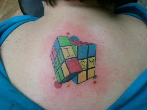 Autism rubik 39 s cube tattoo my tattoo ideas pinterest for Autism tattoos for dads