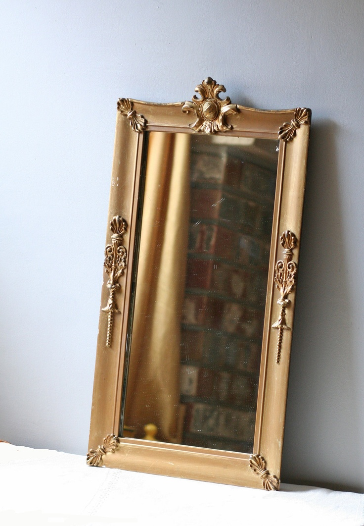 Antique gold frame long wall mirror bath pinterest for Long framed mirror