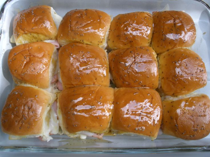 Baked ham & cheese sandwiches. Good recipe. I used whole grain mustard ...