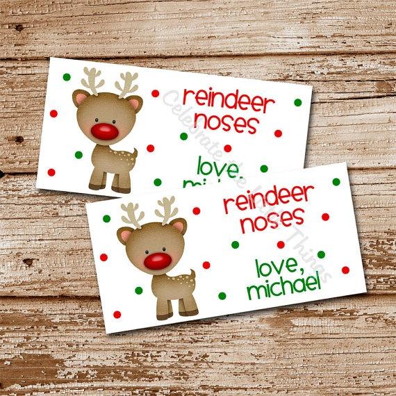 PRINTABLE   Reindeer Noses Christmas Treat Bag Toppers   Candy, Goodi ...