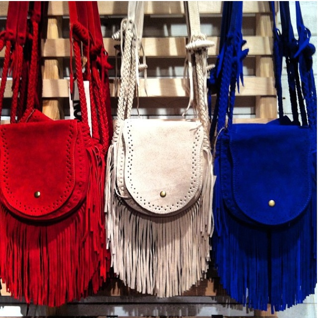 red, white, and blue fringe purses