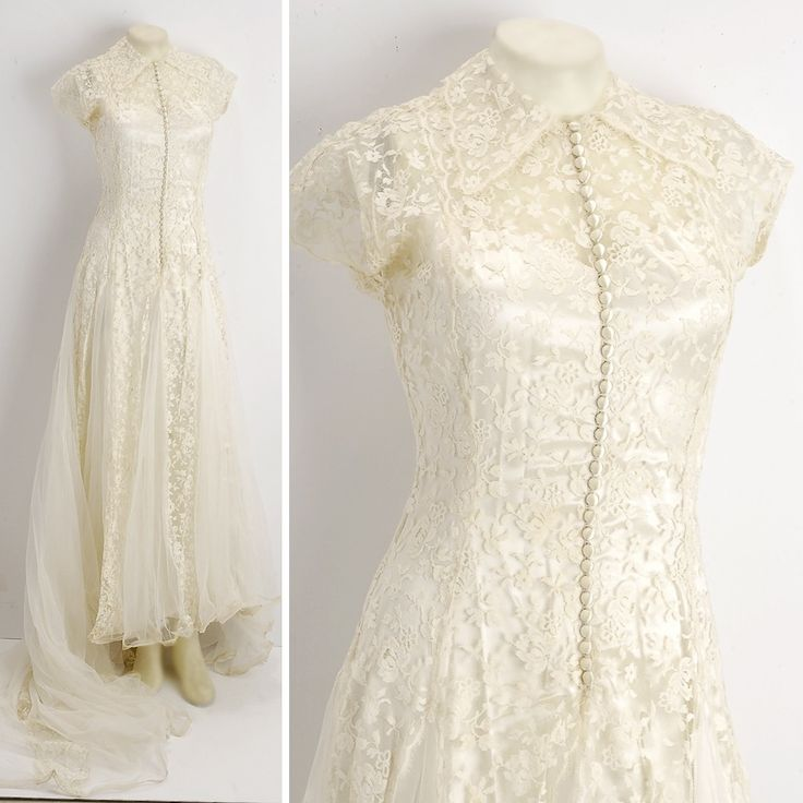 Edwardian wedding dress buttons lace tulle cream for Vintage flapper wedding dress