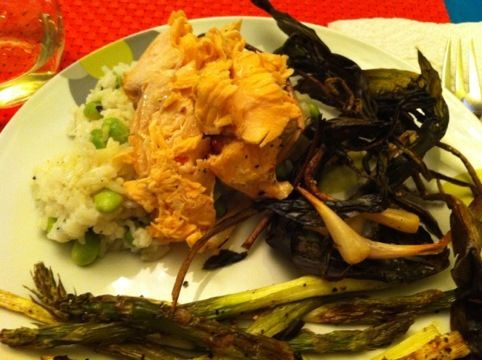 Roasted Wild Ramps and Asparagus with Salmon and Wasabi Edamame Rice