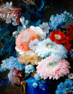 Vase of flowers and conch shell detail anne vallayer coster