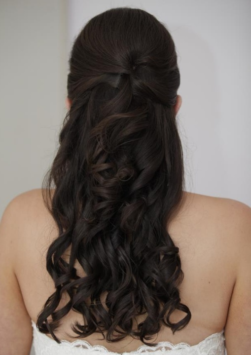 long curly wedding hair