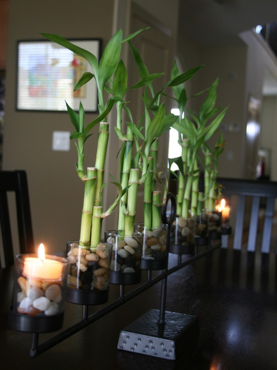 bamboo and candle centerpiece idea candle ideas pinterest