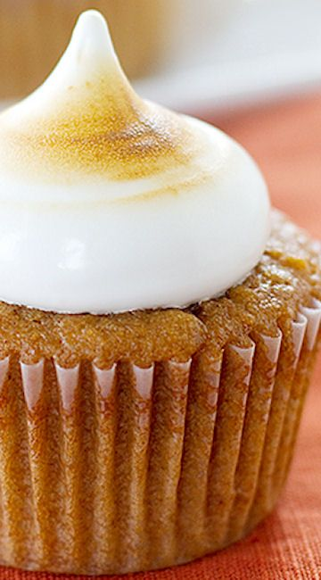 Sweet Potato Cupcakes with Toasted Marshmallow Frosting | Recipe