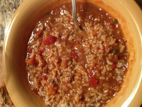 Added brown rice to my Moroccan style chicken & chickpeas soup #GoSoup