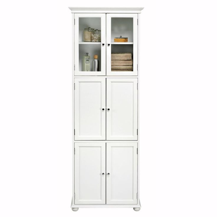 Hampton Bay 72 In H X 25 In W 6 Door Tall Cabinet In White