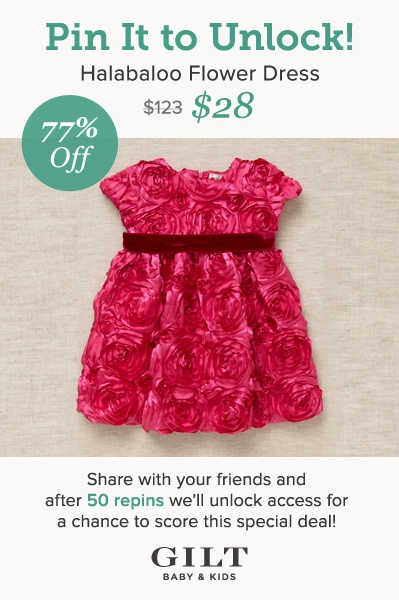 We reached 50 repins! Click on the dress above to score this special deal. Quantities are limited, so act fast. Want more info? Read our blog: http://gi.lt/pindealkids
