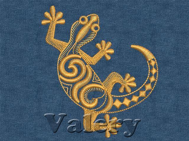 Машинная вышивка ящерицы
