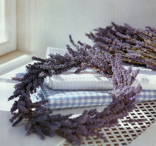 I have lavender plants, harvest in late summer and then use grape vines to make these. A beautiful ribbon as accent. All you need. Umm smells great