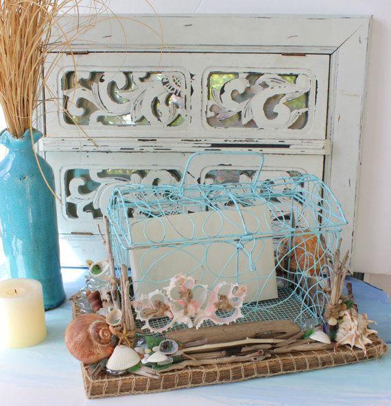 Treasure Chest Wedding Gift Card Box : Beach Wedding Treasure Chest Card Box With Nautical Accents One of a ...