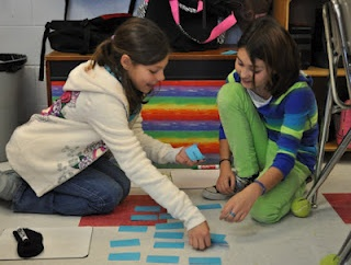 Corkboard Connections blog post with links to resources and strategies for implementing math stations in grades 3 through 8.