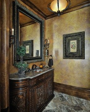 Pin by julia davis on design bathroom old world tuscan for Old world bathroom designs