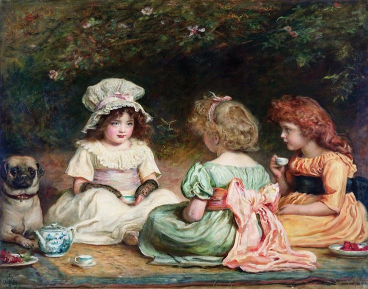 Afternoon tea (or gossip), 1889 - John Everett Millais (English painter and illustrator, 1829-1896)
