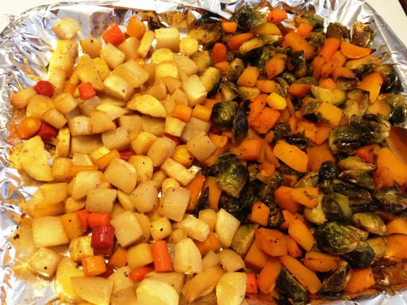 Roast Fall Veggies with maple syrup Brussels sprouts and butternut ...