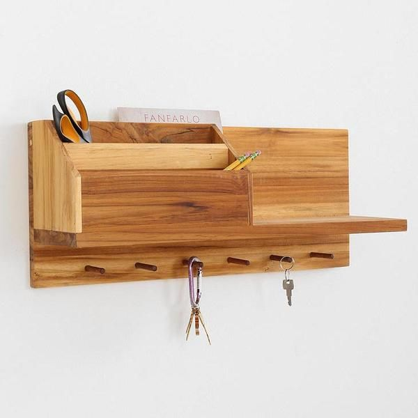 Entryway Wooden Wall Shelf. I'd want it painted or at least stained ...