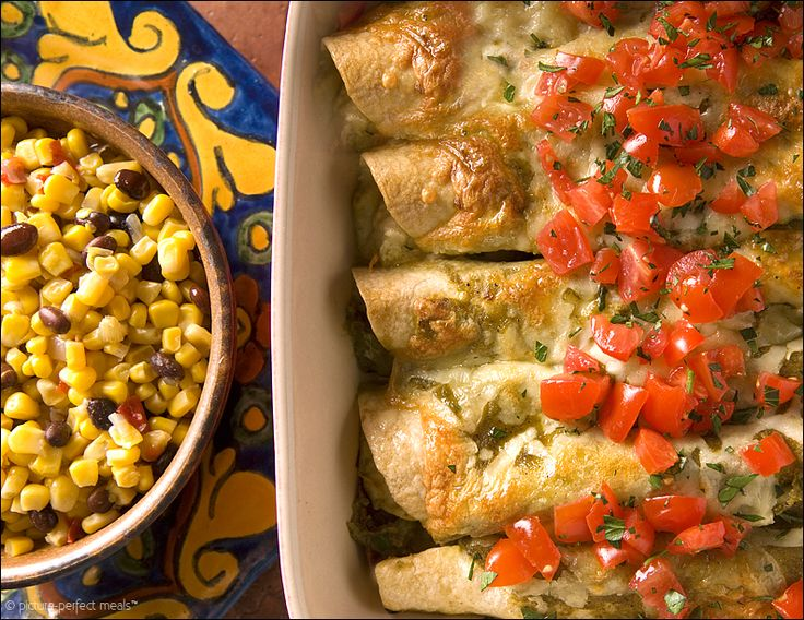 Cheese Enchiladas with Tomatillo-Green Chili Sauce #dinner