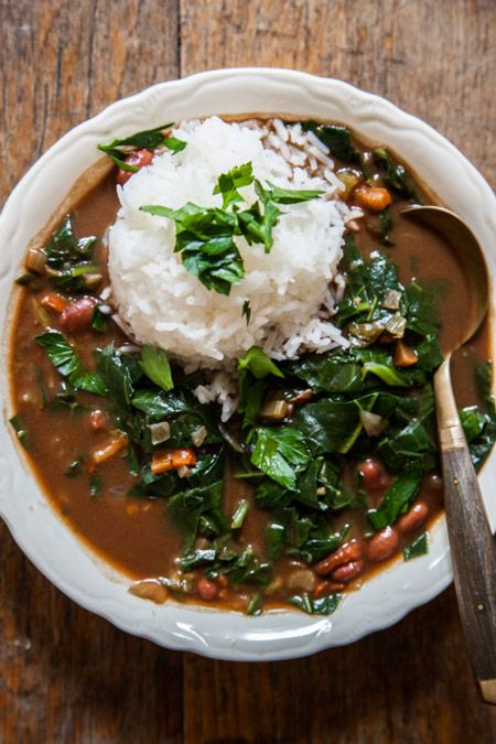 Greens Gumbo (grapeseed/peanut oil, onions, garlic, sweet peppers ...