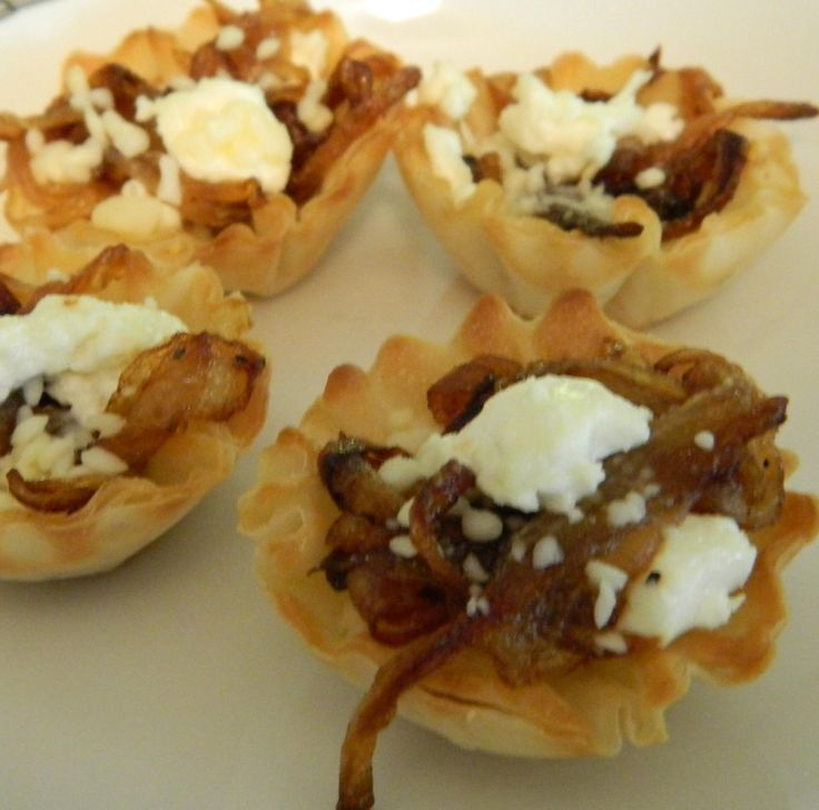 Onion and Goat Chesse Tartlet. I used Boursin instead of goat cheese ...