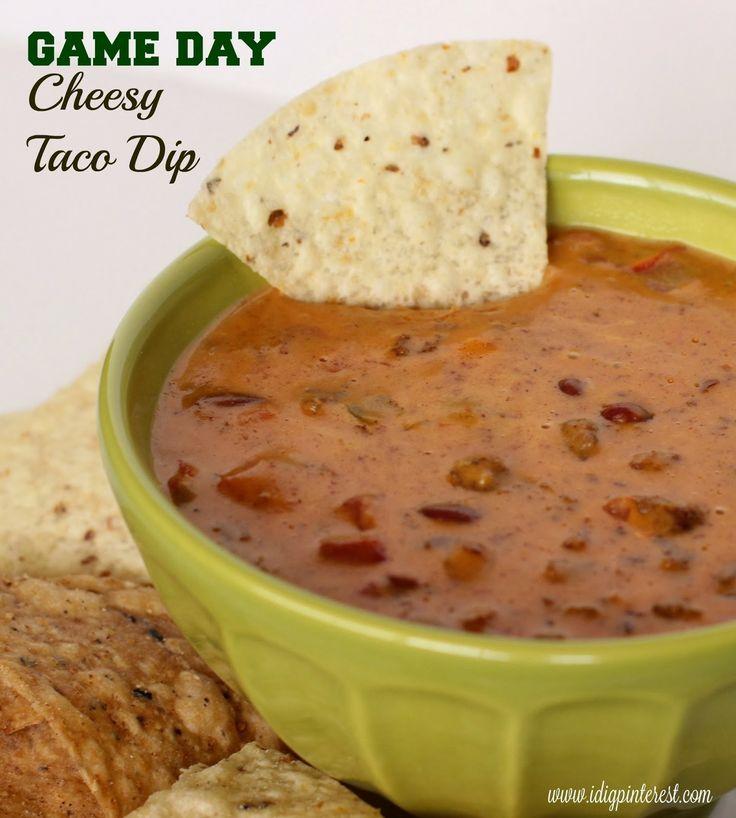 Game Day Cheesy Taco Dip - definitely not using velveeta, but this ...