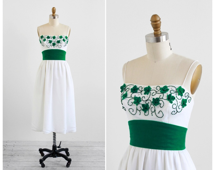 Green velvet leaves and white chiffon irish party or wedding dress