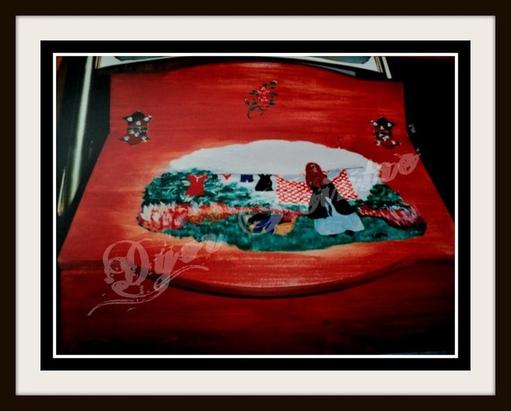 Boite pingle linge peinture sur bois pinterest for Peinture sur bois