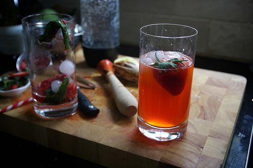 Strawberry lemon basil soda | drinks | Pinterest